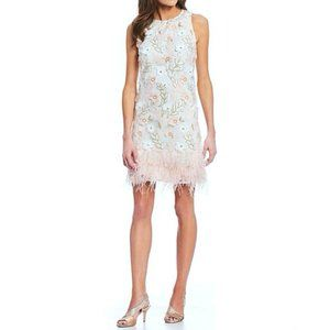 Alex Marie Shift Dress Pink Ivory Green Feathers
